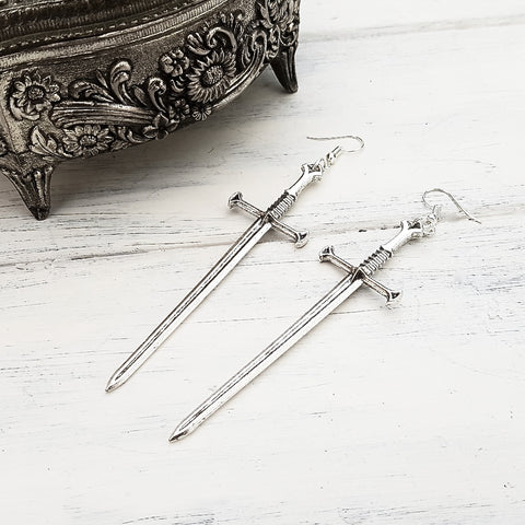 Silver Tone Sword Earrings