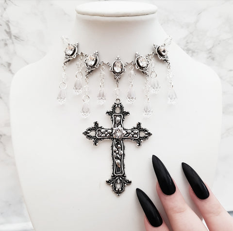 'Sanctus Tenebris' Necklace With Swarovski Jewels (Colour Options)