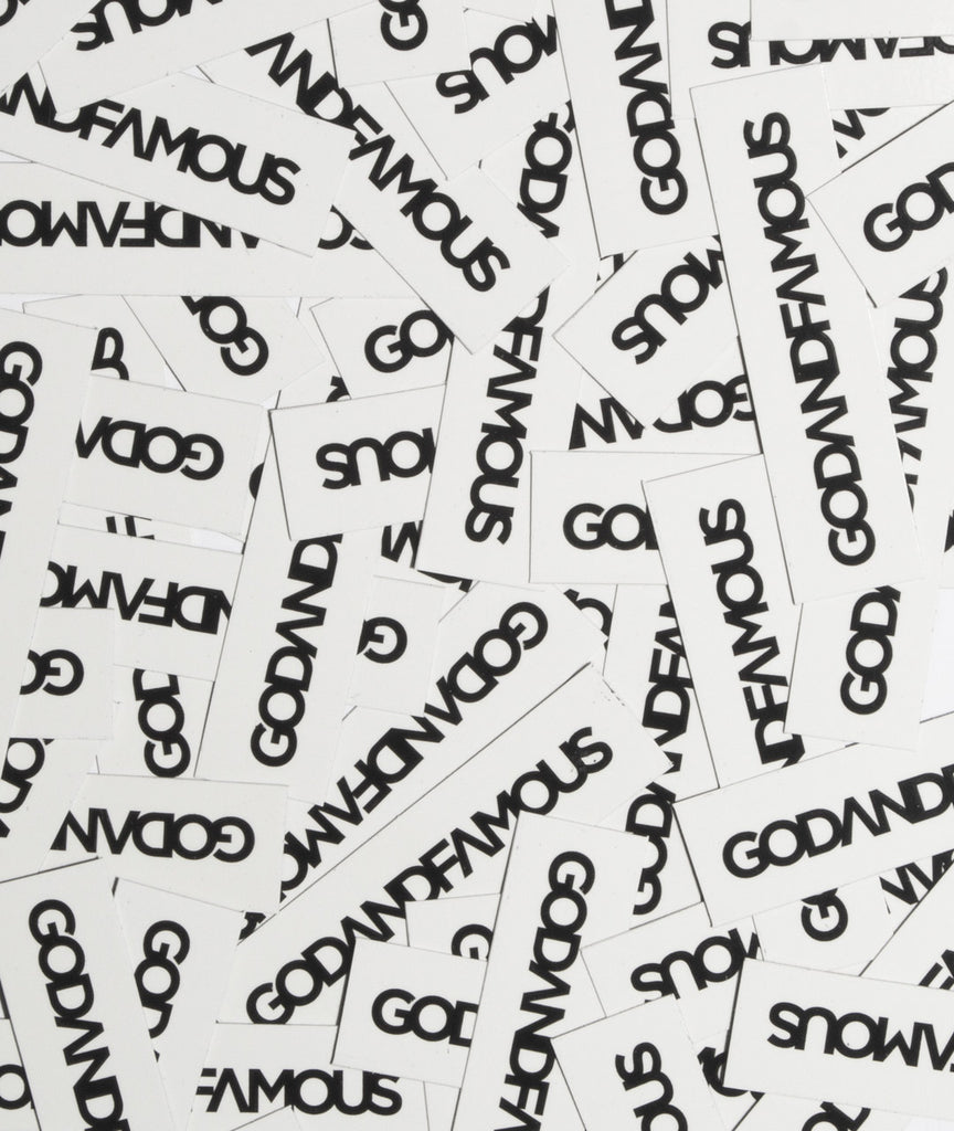 God and Famous Reverse Box Logo Sticker - 3 in
