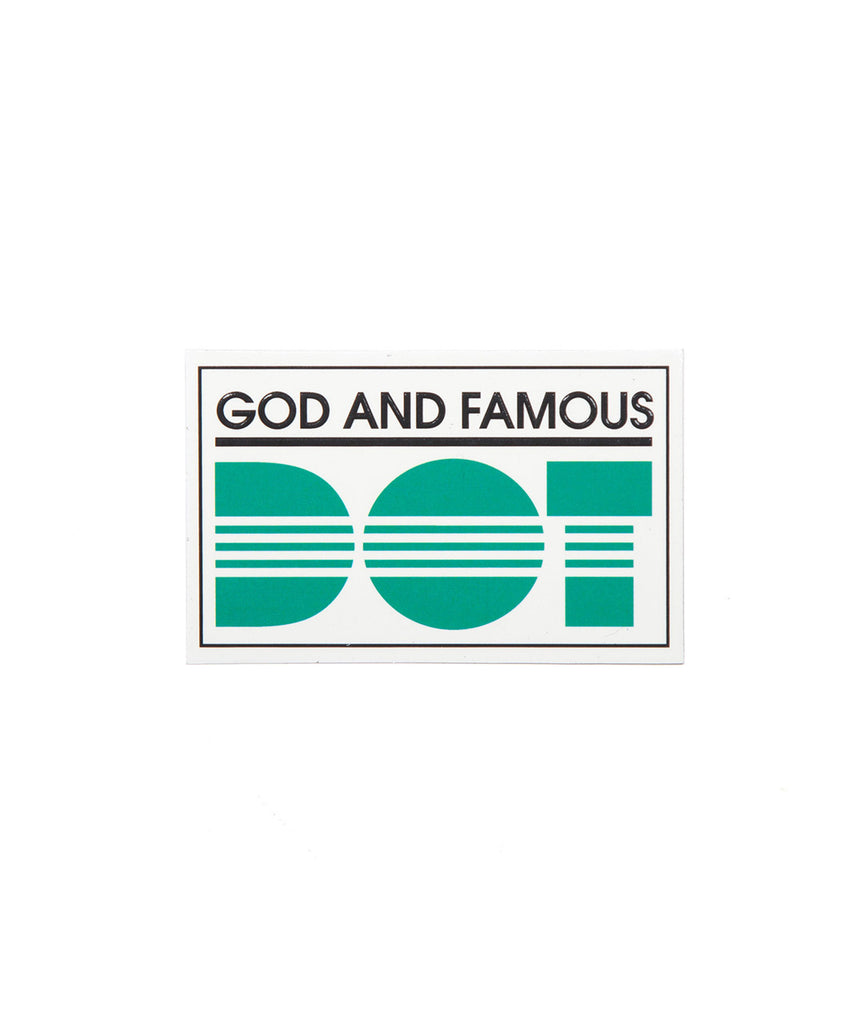 God and Famous DOT Sticker