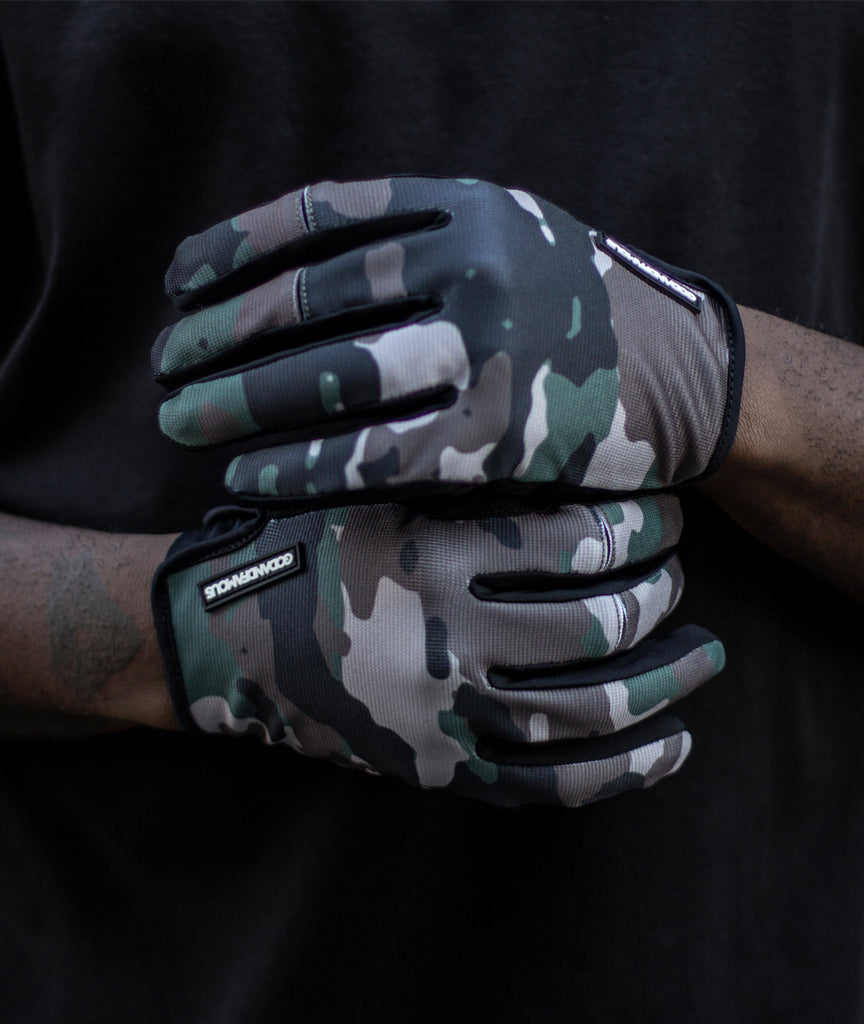 God and Famous LT Cycling Gloves - Woodland Camo