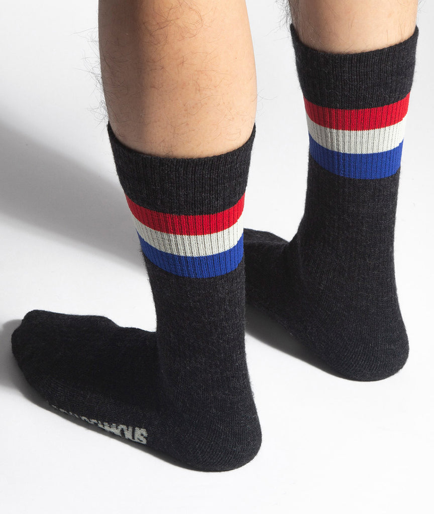 God and Famous RWB Merino Sock - Charcoal