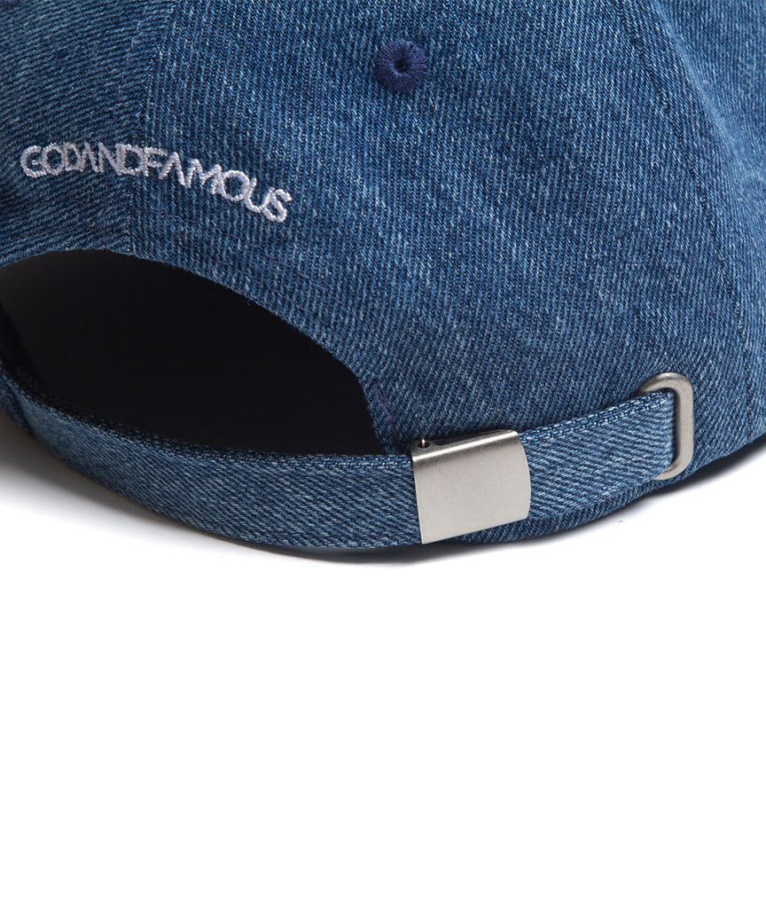 God and Famous Trash 6-Panel Denim Hat - Acid Wash