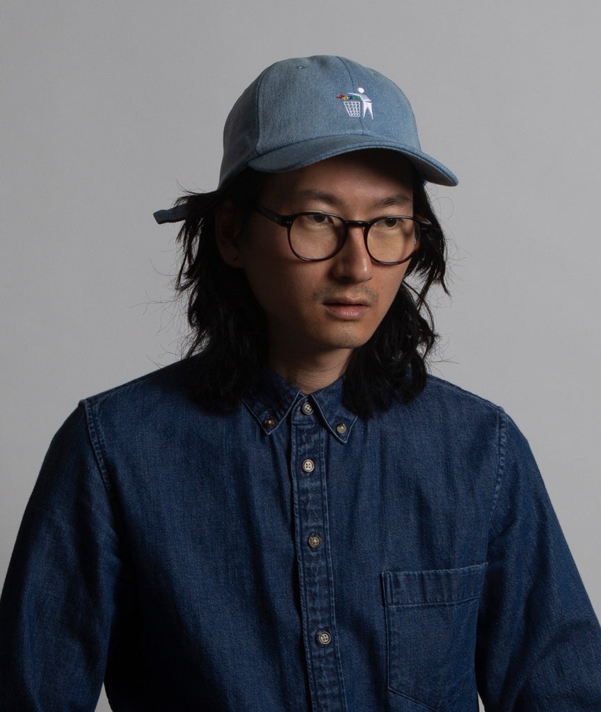 God and Famous Trash 6-Panel Denim Hat - Light Wash