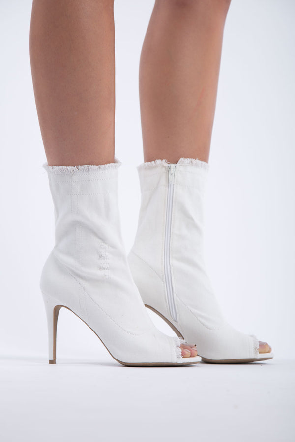Dogs Are Barking Denim Booties in White | Necessary Clothing