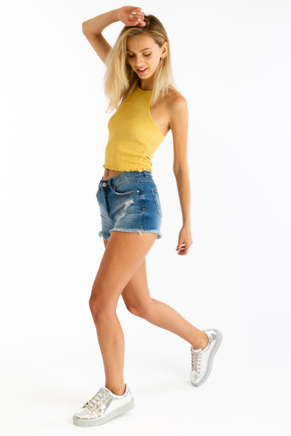 Cutting Corners Crop Tank in Mustard | Necessary Clothing