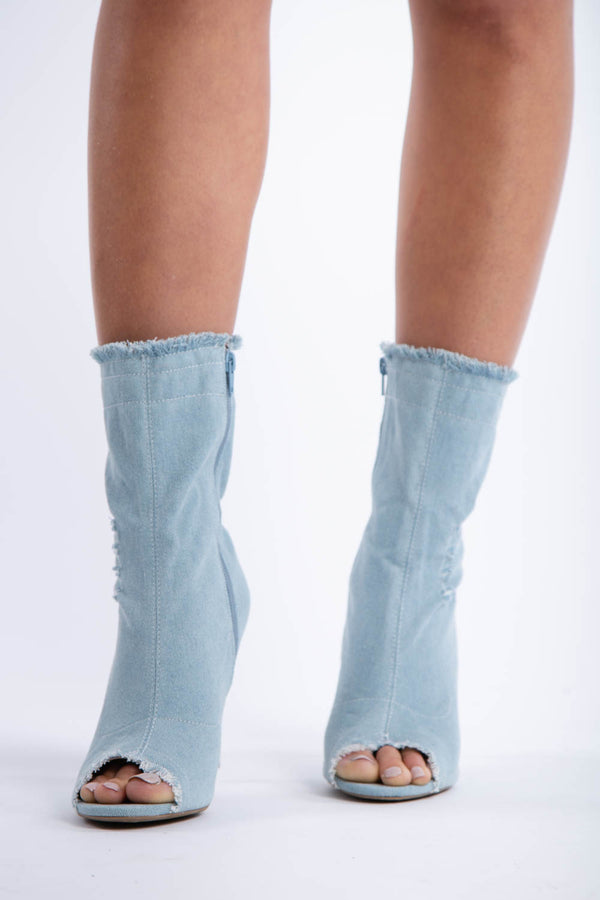 Dogs Are Barking Denim Booties in Light Blue | Necessary Clothing