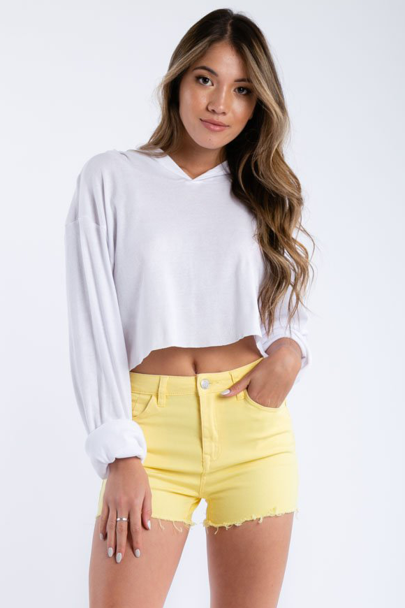 Shake It Up Denim Shorts in Yellow