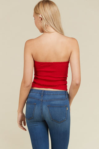 Front Ruched Tube Top in Red | Necessary Clothing