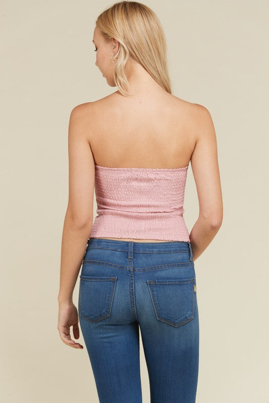 Front Ruched Tube Top in Desert Rose