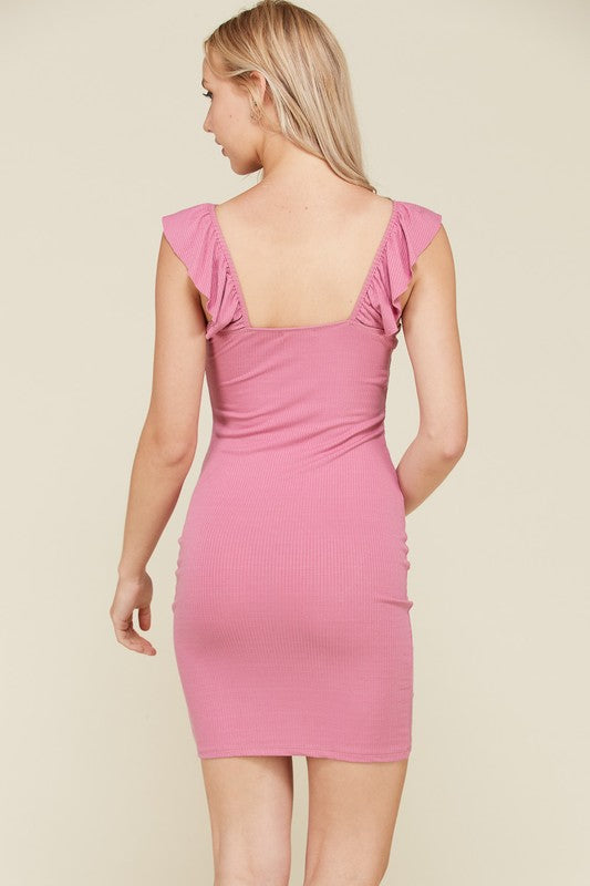 Give It A Ruche Mini Dress in Rose