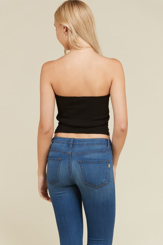 Front Ruched Tube Top in Black | Necessary Clothing
