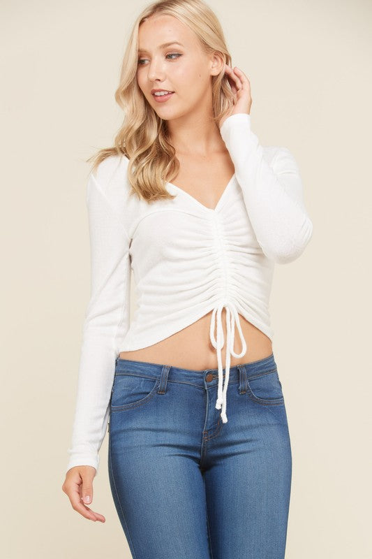 Short Serenade Long Sleeve Top in Soft White