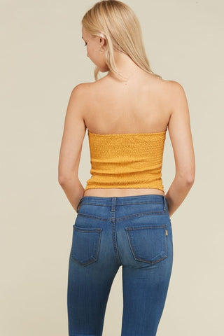Front Ruched Tube Top in Sun Baked | Necessary Clothing