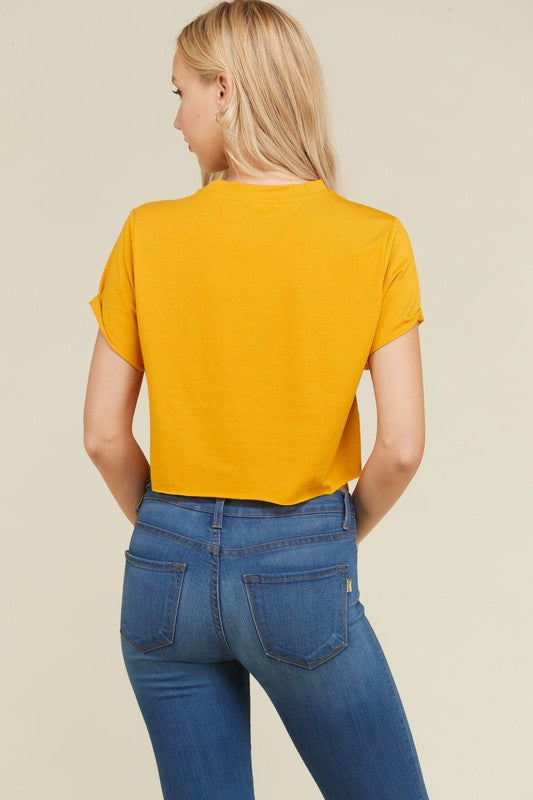 Trapped In A Box Cropped Tee in New Mustard | Necessary Clothing