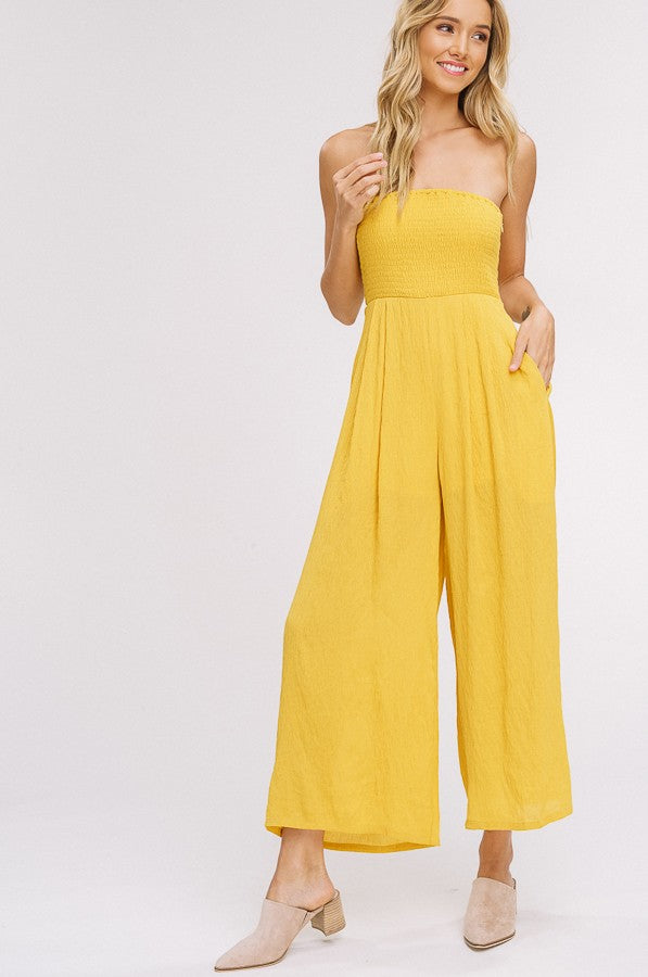 Smocking Hot Tube Top Jumpsuit in Mustard