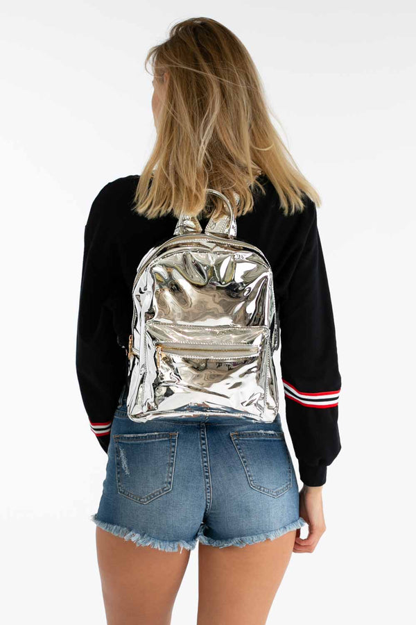 Jam Sesh Metallic Backpack in Silver | Necessary Clothing