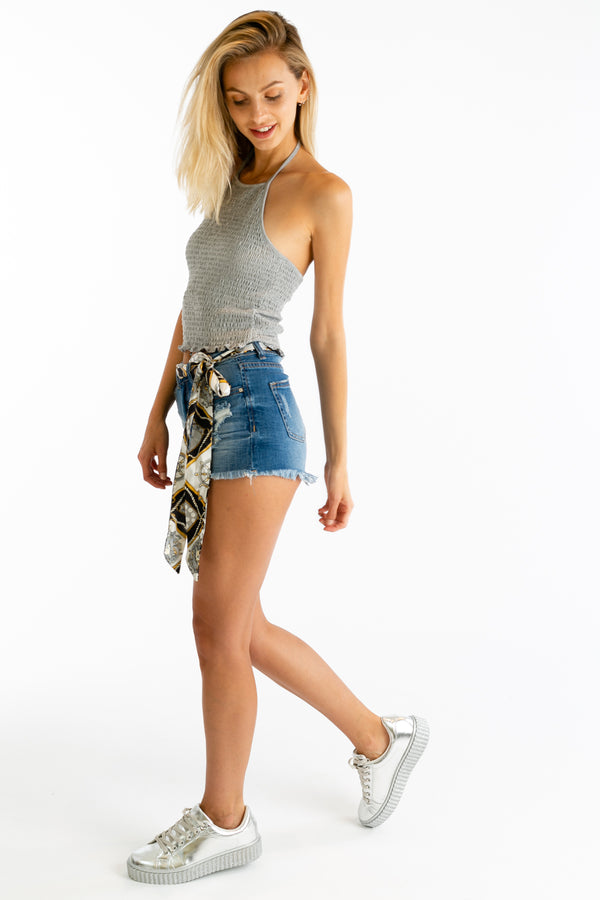 Cutting Corners Crop Tank in Gray | Necessary Clothing