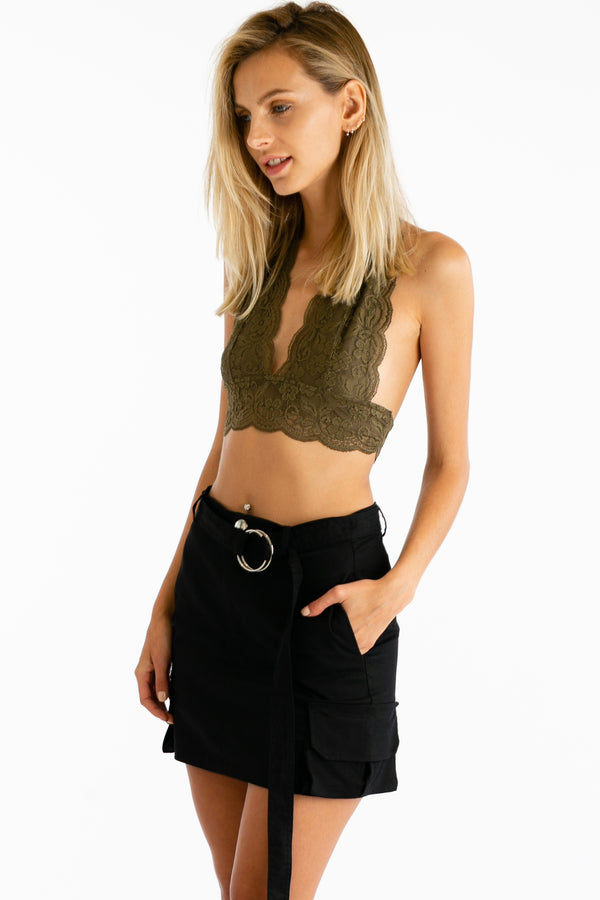 Prairie Queen Lace Bralette in Dusty Olive | Necessary Clothing