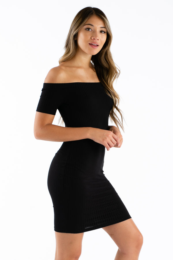 Like Coy Shoulders Mini Dress in Black | Necessary Clothing