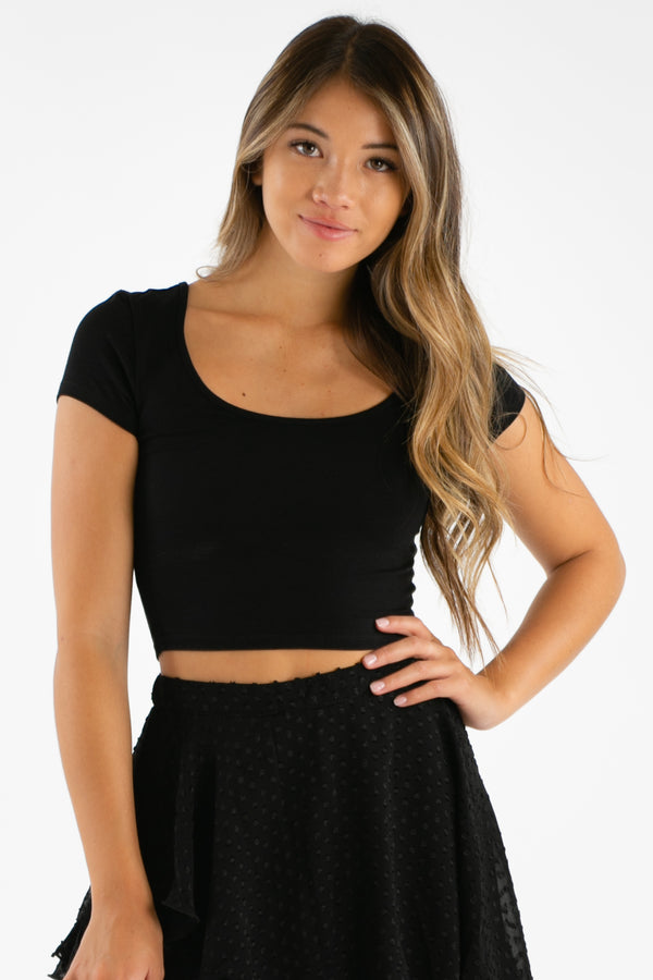 Loyal Tee Crop Top in Black | Necessary Clothing