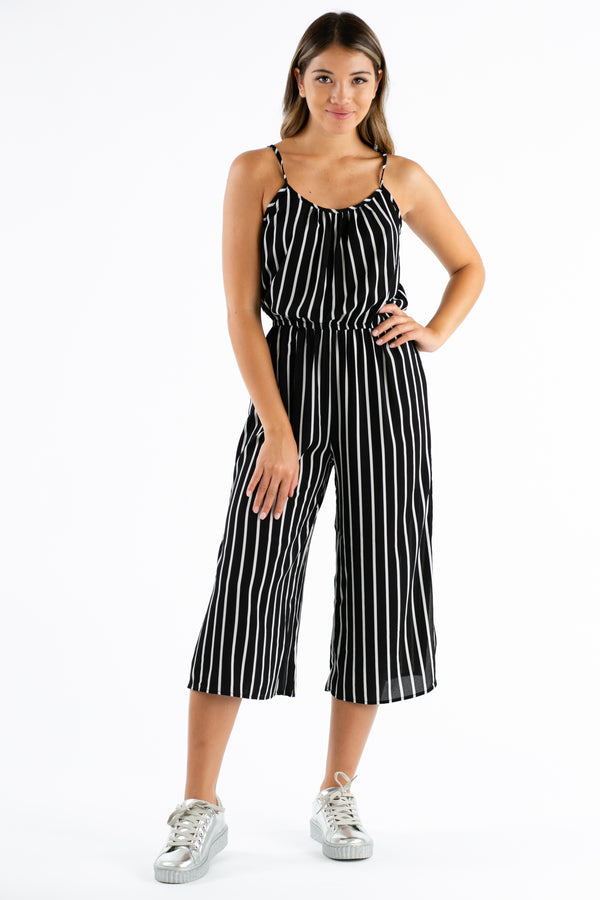 Earn Your Stripes Jumpsuit in Black & White | Necessary Clothing