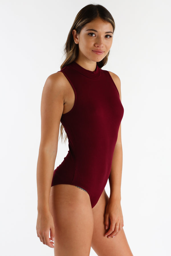 Better Alone Bodysuit in Burgundy | Necessary Clothing