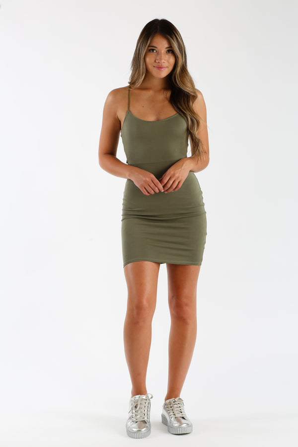 Make My Day Mini Dress in Olive | Necessary Clothing