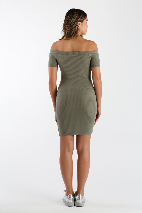 Like Coy Shoulders Mini Dress in Olive Green | Necessary Clothing