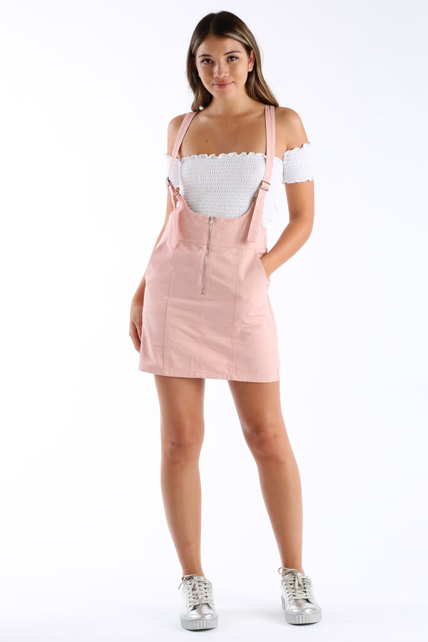 Swipe Right Skirt Overalls in Peach | Necessary Clothing