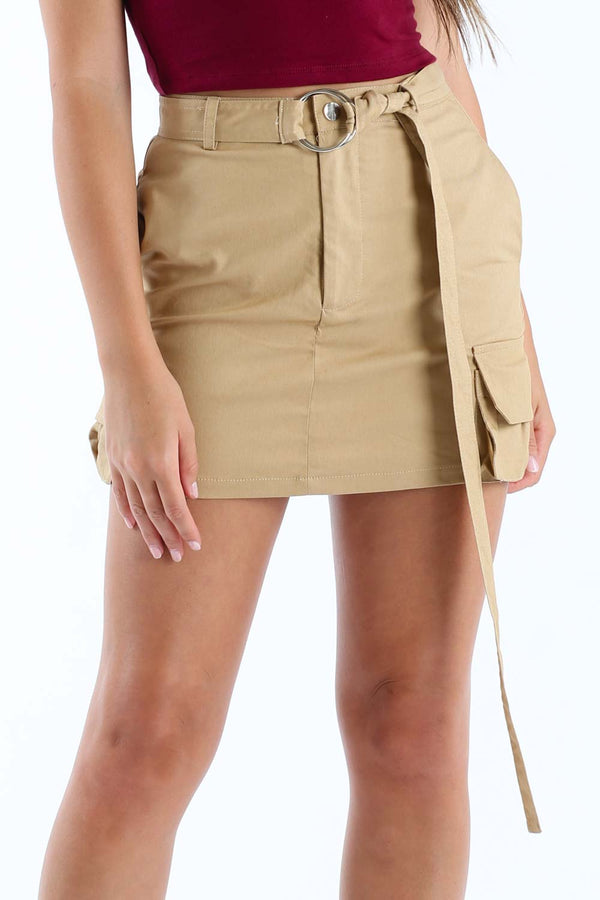 Go For It Mini Skirt in Khaki | Necessary Clothing