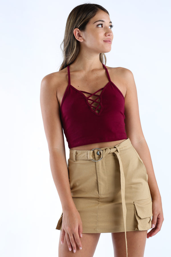 Sus About Us Crop Tank in Burgundy | Necessary Clothing