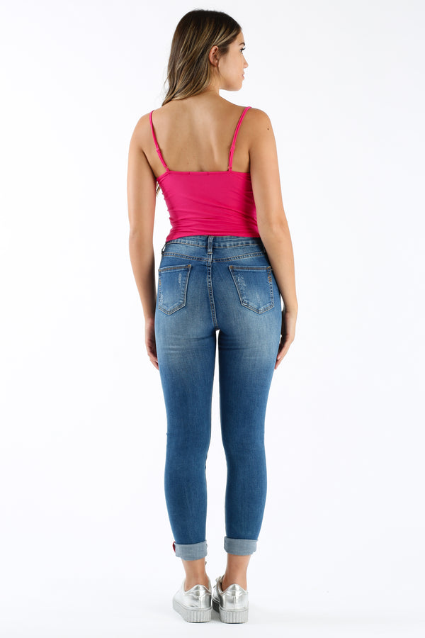No Grommet Crop Tank in Rose Fuchsia | Necessary Clothing