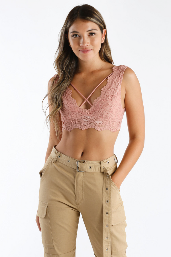 Lace Cadet Bralette in Pink