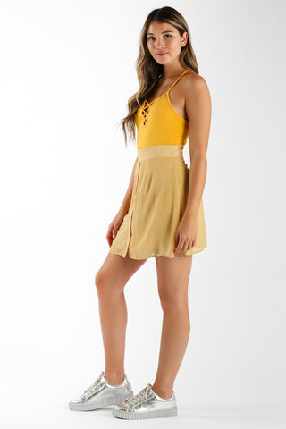 Sus About Us Crop Tank in New Mustard | Necessary Clothing