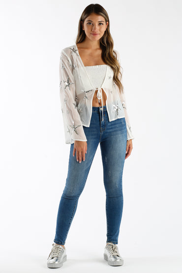 Sparks Fly Sheer Top in White & Silver | Necessary Clothing