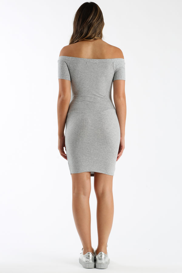 Like Coy Shoulders Mini Dress in Gray | Necessary Clothing