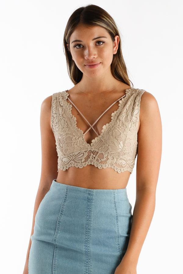 Lace Cadet Bralette in Taupe | Necessary Clothing