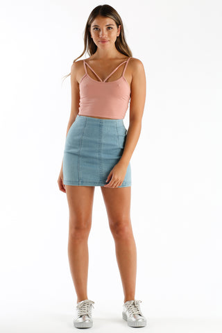 The Last Strap Crop Tank in Mauve