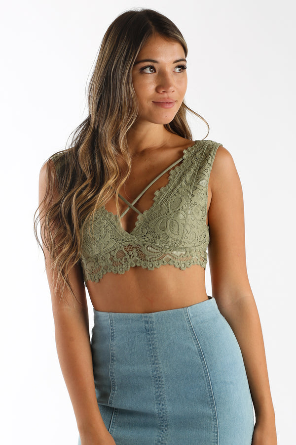 Lace Cadet Bralette in Olive Green | Necessary Clothing