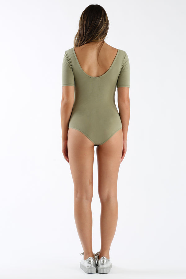 Lace Back And Forth Bodysuit in Sage | Necessary Clothing