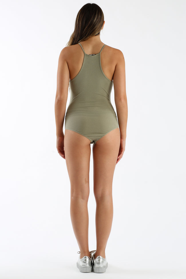 Piece Of Mind Bodysuit in Sage | Necessary Clothing