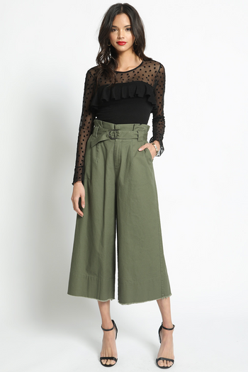 Crop Circle Palazzo Pants in Olive | Necessary Clothing