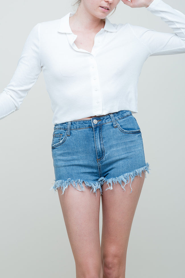 Distressed Out Denim Shorts | Necessary Clothing