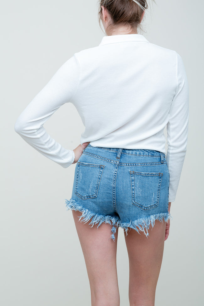 Distressed Out Denim Shorts