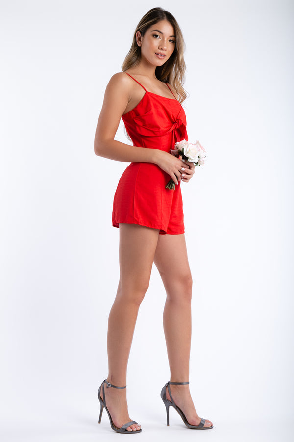 Kissy Face Front Tie Romper in Red | Necessary Clothing