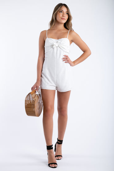 Kissy Face Front Tie Romper in White | Necessary Clothing