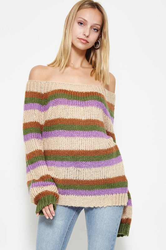 Stripe Up Your Love Life Sweater in Lavender | Necessary Clothing