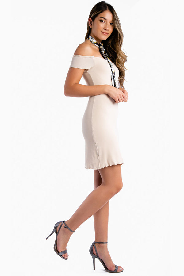 Jet Setter Off Shoulder Dress in Nude | Necessary Clothing