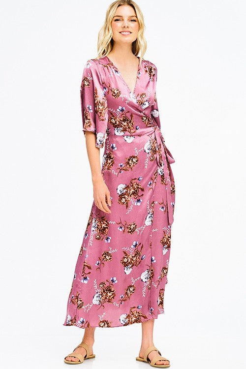 Oahu Wrap Kimono Dress in Pink | Necessary Clothing